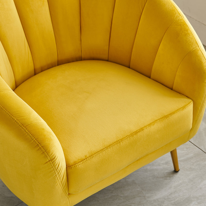 Cherry Tree Furniture Mahleen Fluted Velvet Armchair with Gold Tapered Legs Mustard 7