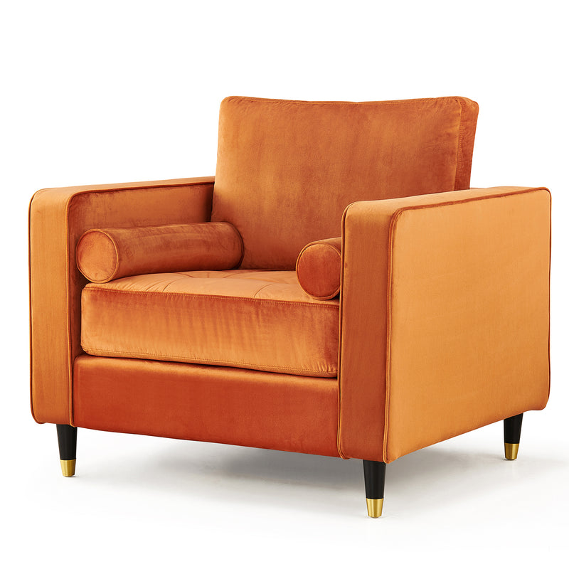Reece velvet Armchair with Gold Tipped Legs in Orange Flame 2