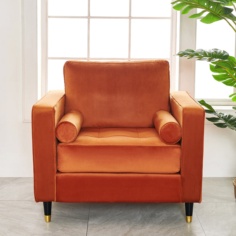 Reece velvet Armchair with Gold Tipped Legs in Orange Flame 3