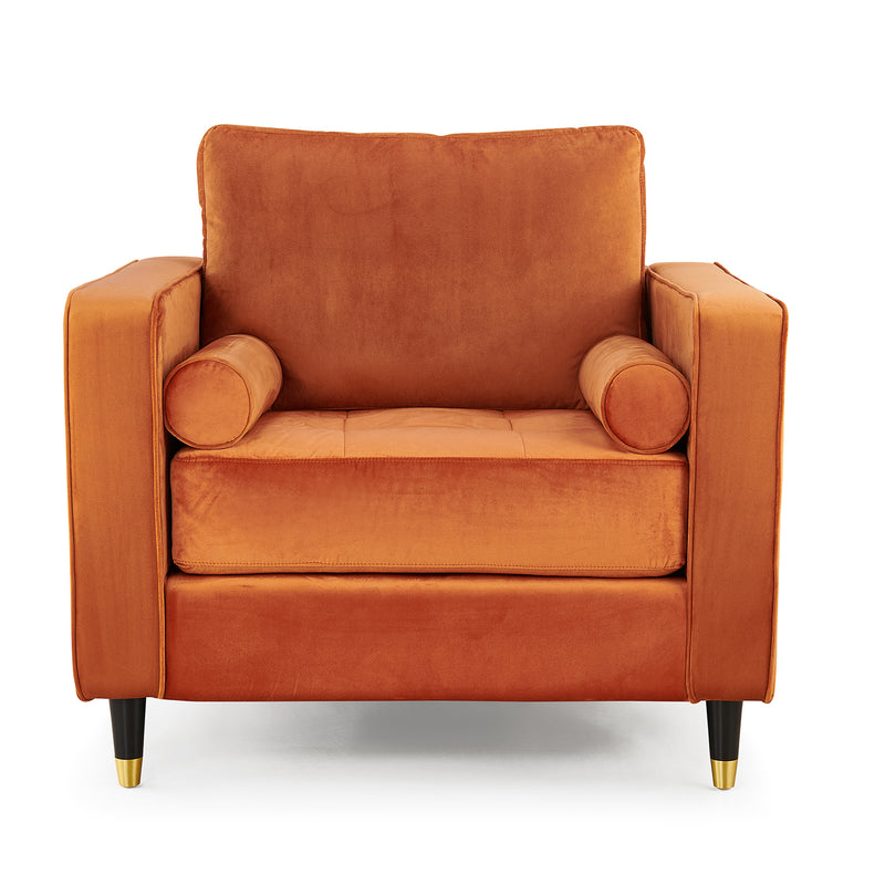 Reece velvet Armchair with Gold Tipped Legs in Orange Flame 4