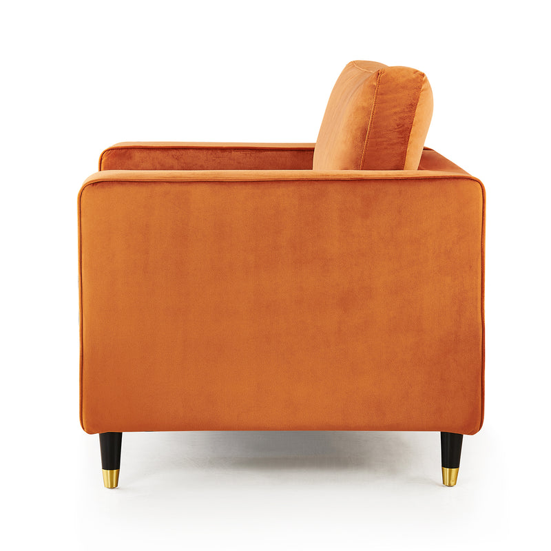 Reece velvet Armchair with Gold Tipped Legs in Orange Flame 6