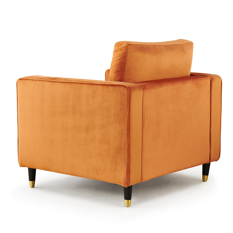 Reece velvet Armchair with Gold Tipped Legs in Orange Flame 7