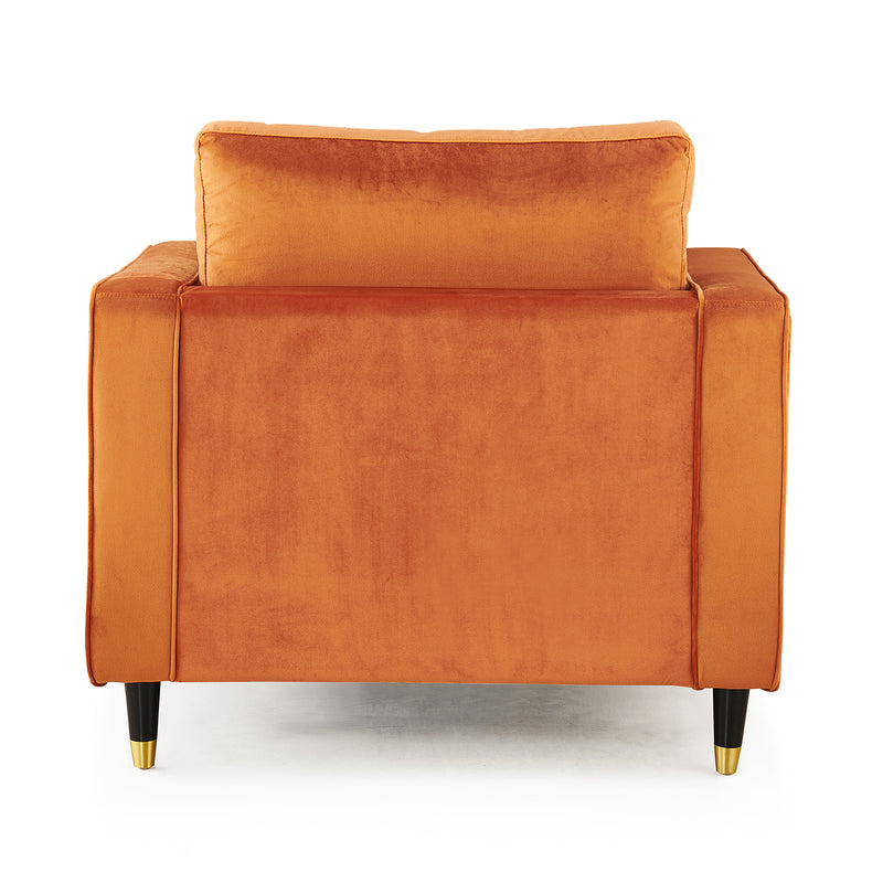 Reece velvet Armchair with Gold Tipped Legs in Orange Flame 8