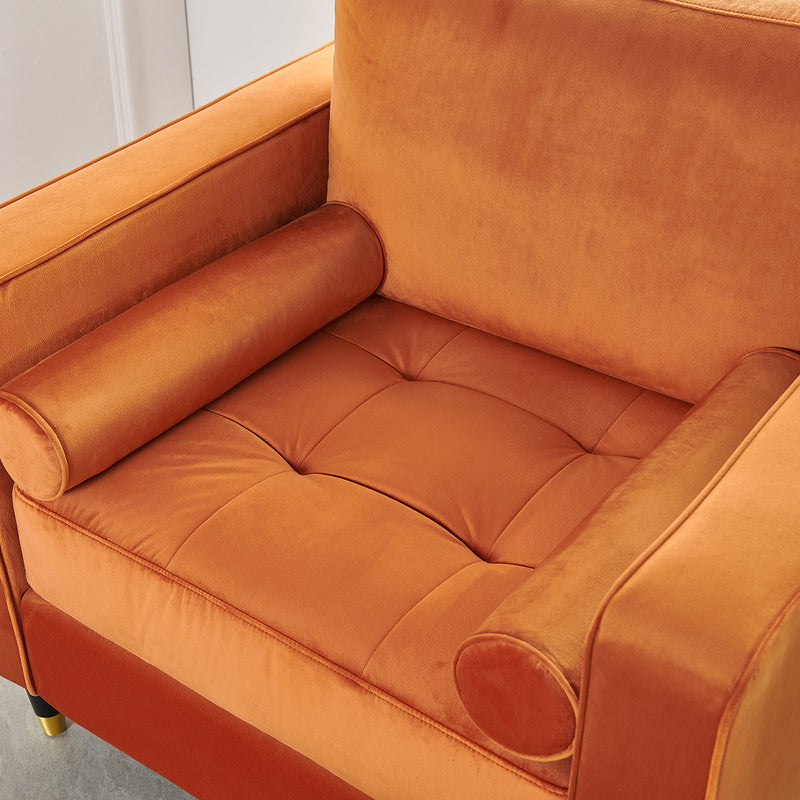 Reece velvet Armchair with Gold Tipped Legs in Orange Flame 9