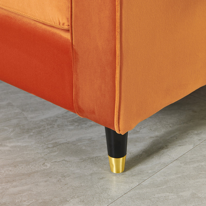 Reece velvet Armchair with Gold Tipped Legs in Orange Flame 10