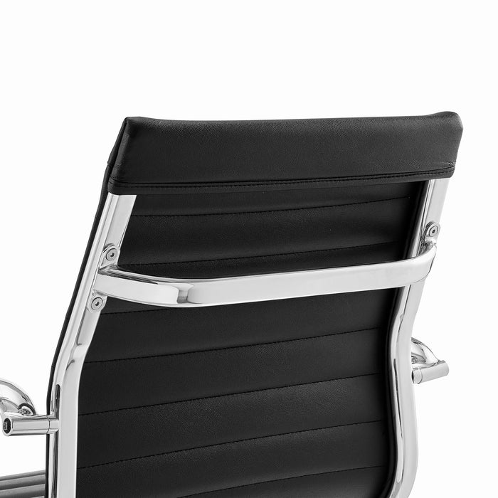 Ezra Medium Back Swivel Office Chair with Chrome Base in Black 8