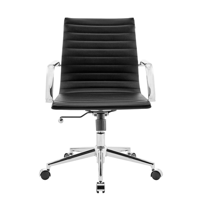 Ezra Medium Back Swivel Office Chair with Chrome Base in Black 2