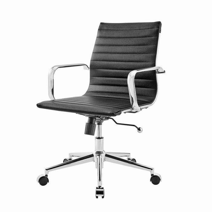 Ezra Medium Back Swivel Office Chair with Chrome Base in Black 3