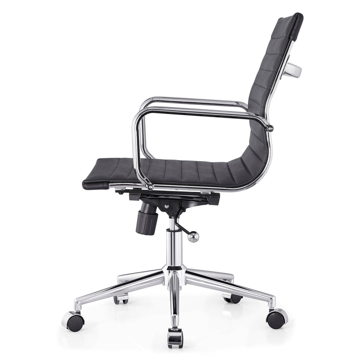 Ezra Medium Back Swivel Office Chair with Chrome Base in Black 4