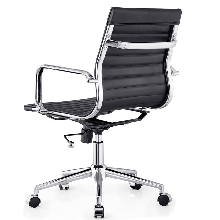 Ezra Medium Back Swivel Office Chair with Chrome Base in Black 6