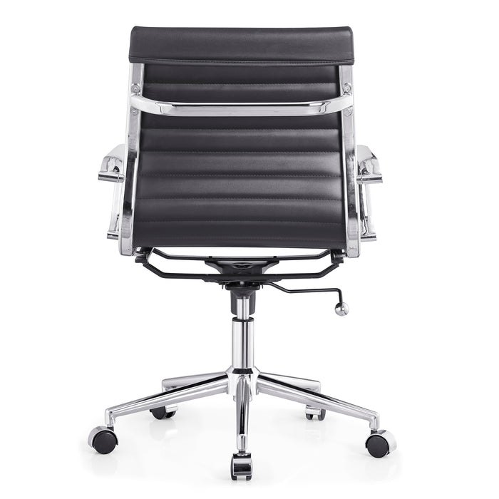 Ezra Medium Back Swivel Office Chair with Chrome Base in Black 7