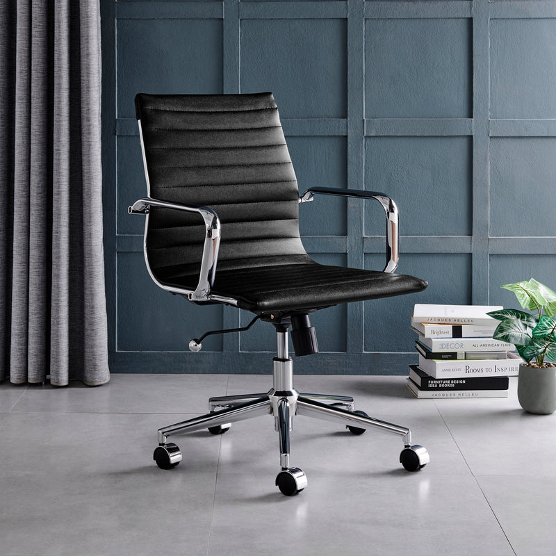 Ezra Medium Back Swivel Office Chair with Chrome Base in Black 1