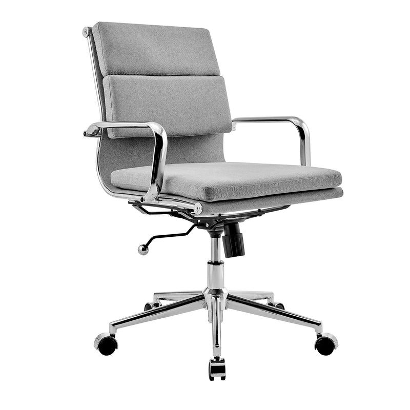 Finn Medium Back Padded Swivel Office Chair in Black PU Leather 3