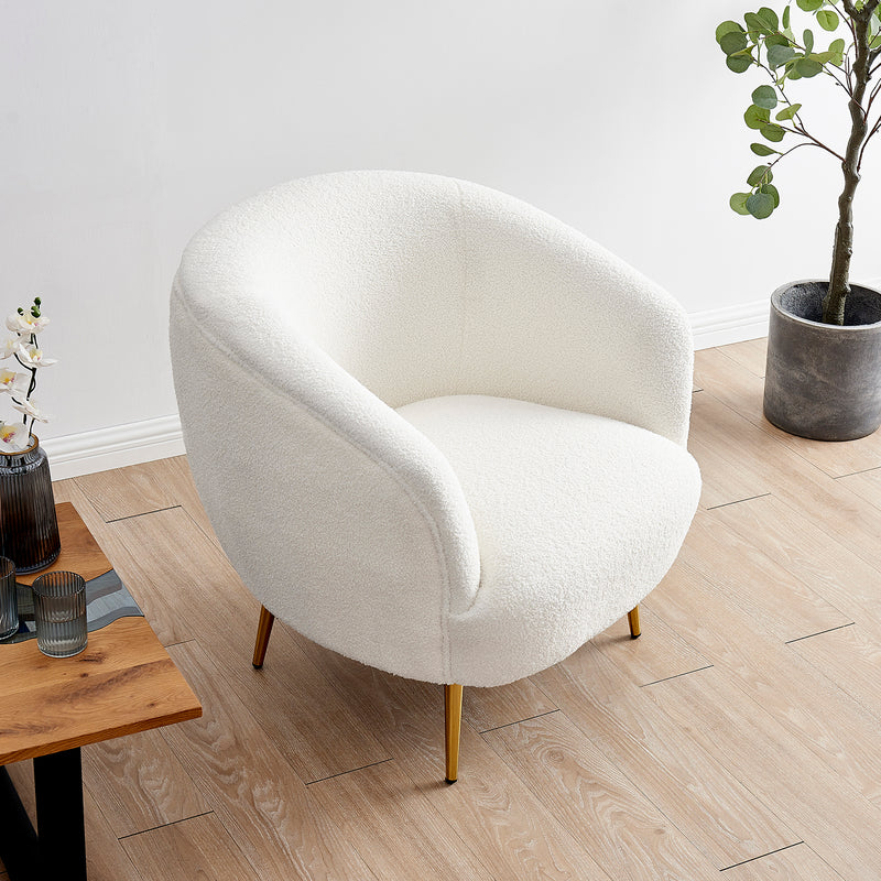 Lizzy Teddy White Armchair with Gold Stainless Steel Legs 2