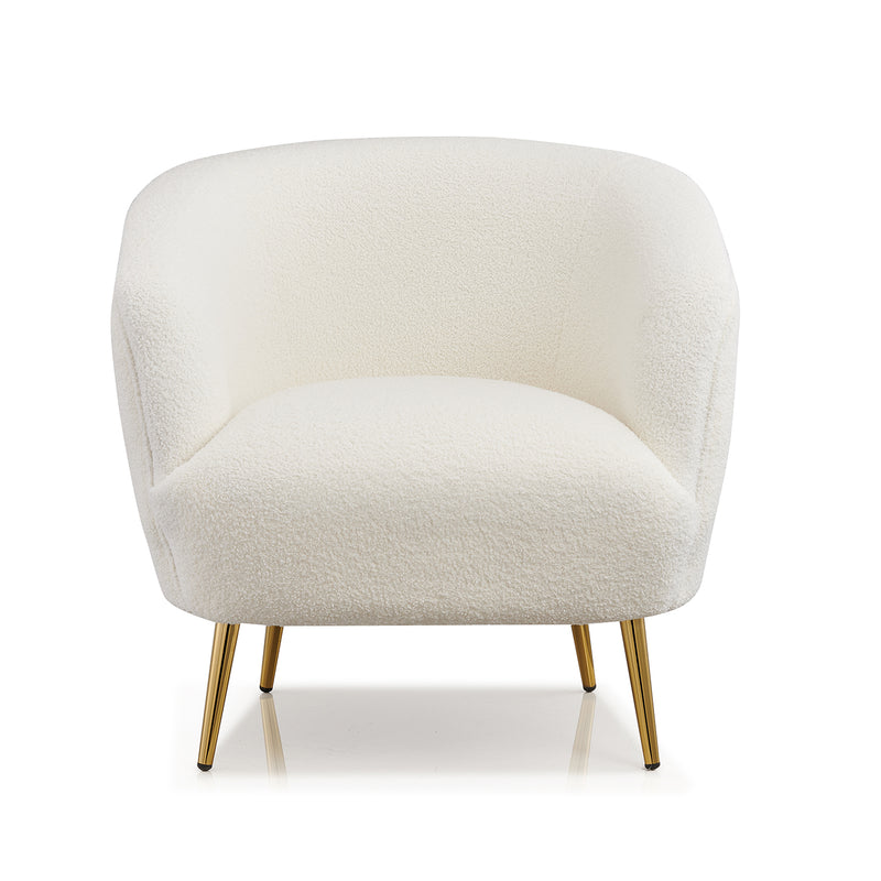 Lizzy Teddy White Armchair with Gold Stainless Steel Legs 3