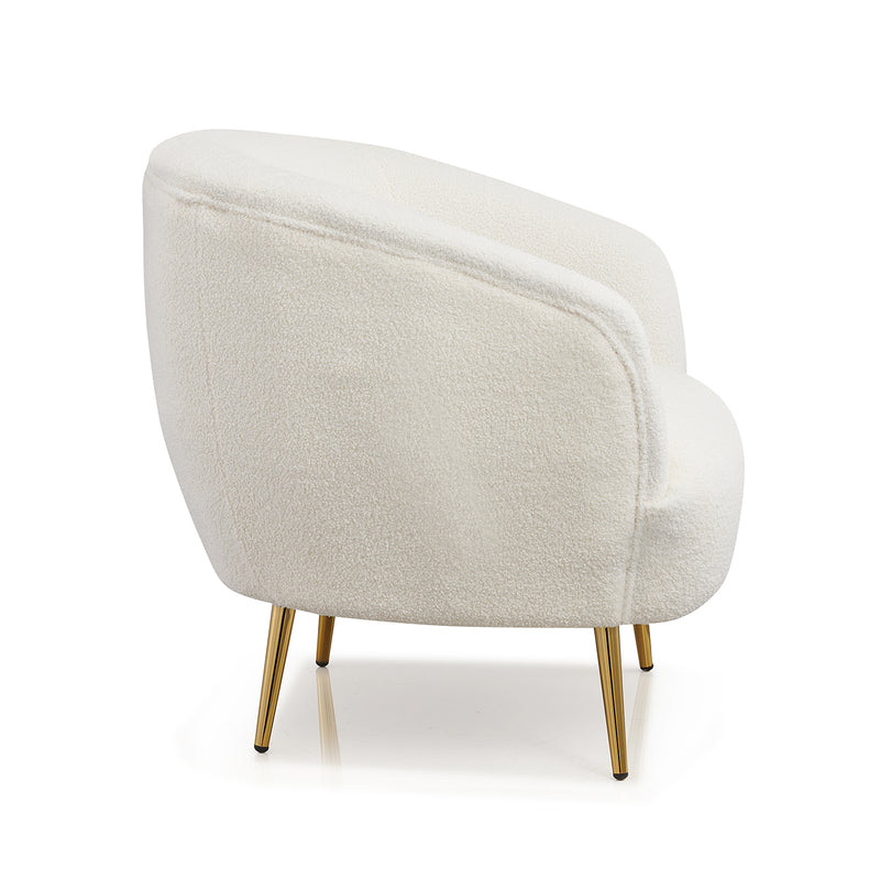 Lizzy Teddy White Armchair with Gold Stainless Steel Legs 4