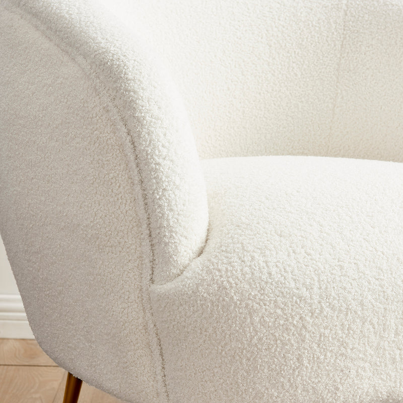 Lizzy Teddy White Armchair with Gold Stainless Steel Legs 6