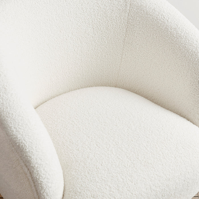 Lizzy Teddy White Armchair with Gold Stainless Steel Legs 7