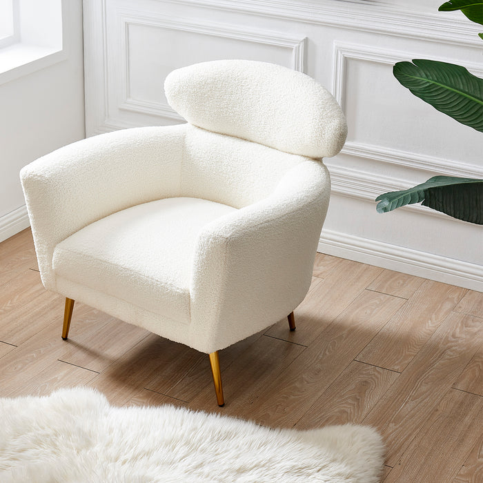 Bella White Teddy Armchair with Headrest and Gold Legs 2