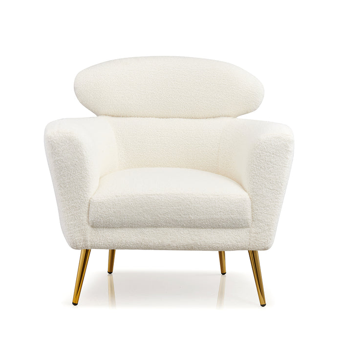 Bella White Teddy Armchair with Headrest and Gold Legs 3