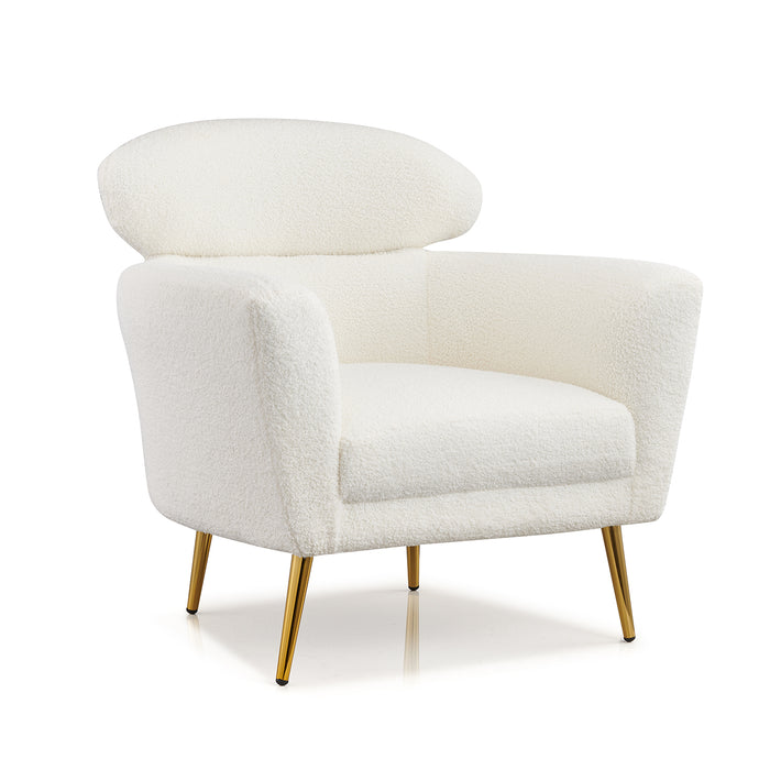 Bella White Teddy Armchair with Headrest and Gold Legs 4
