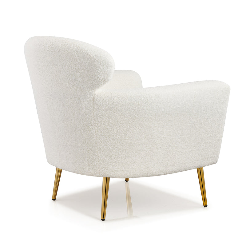Bella White Teddy Armchair with Headrest and Gold Legs 6