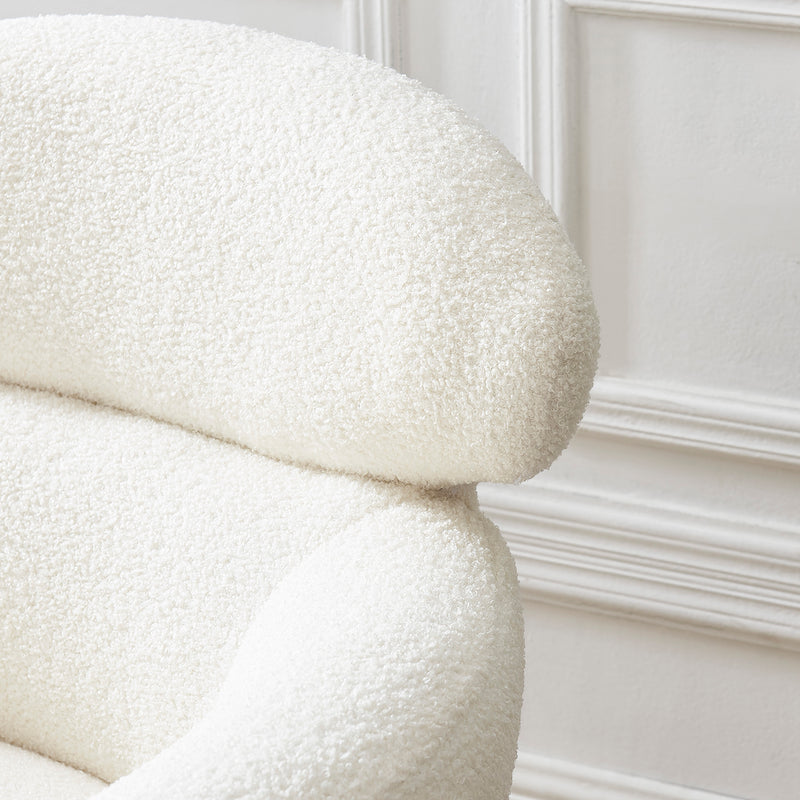 Bella White Teddy Armchair with Headrest and Gold Legs 7