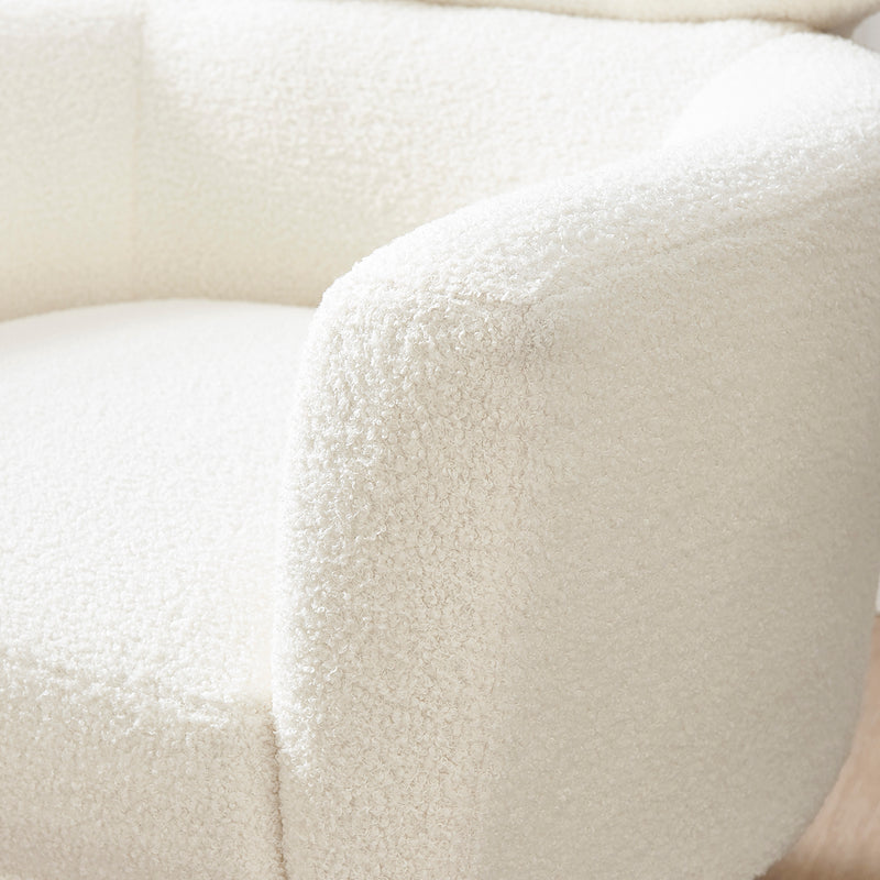 Bella White Teddy Armchair with Headrest and Gold Legs 8