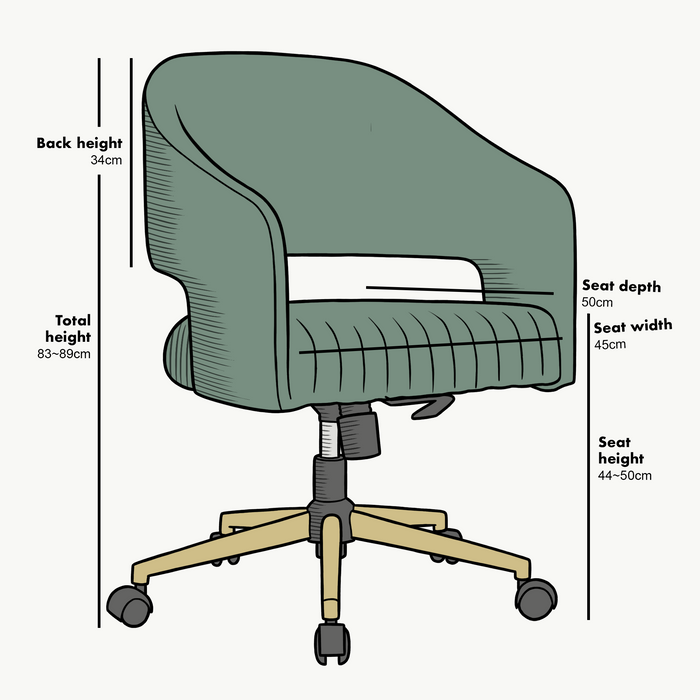 Perce Velvet Swivel Desk Chair Green 7