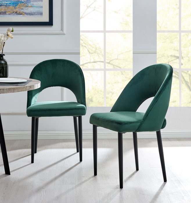 Calgary Set of 2 Velvet Dining Chairs in Green