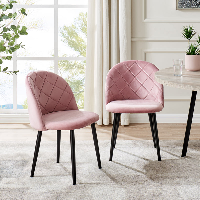 Set of 2 Edmonton Velvet Dining Chairs with Quilted Backrest in Pink