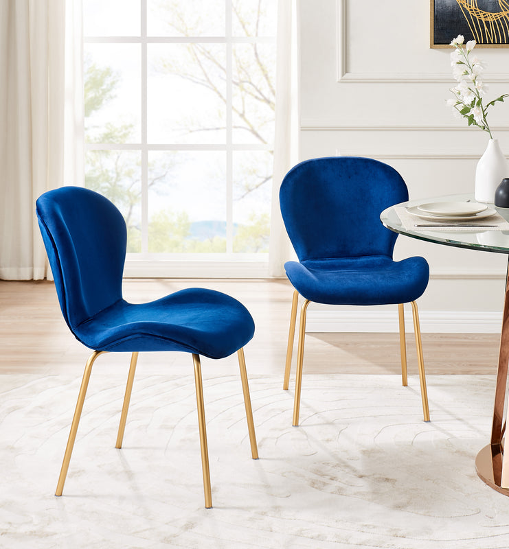 Set of 2 Fernie Blue Velvet Dining Chairs with Golden Metal Legs