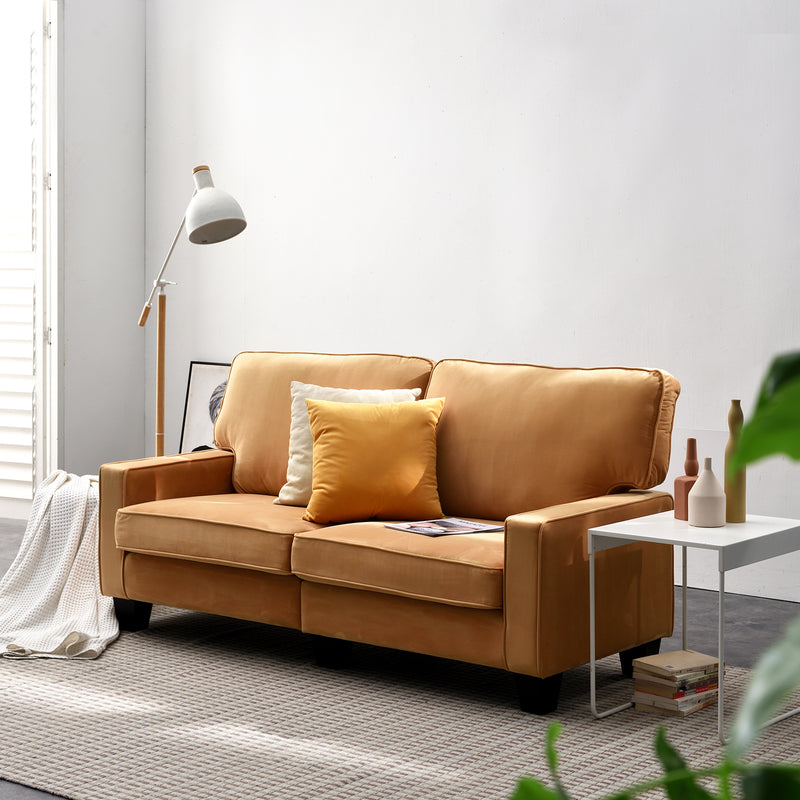 Sherbrook 3 Seater Fabric Sofa in Mustard Velvet Fabric 2