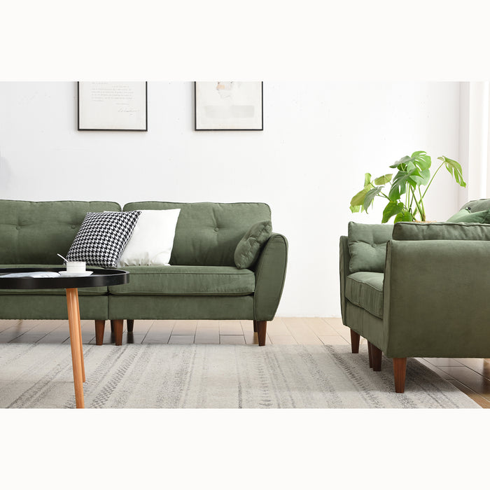 Brooks Sofa range in Green Suede Effect 9