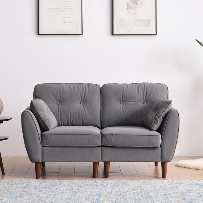 Front on view of 2 seat Brooks Sofa in Grey PU Leather