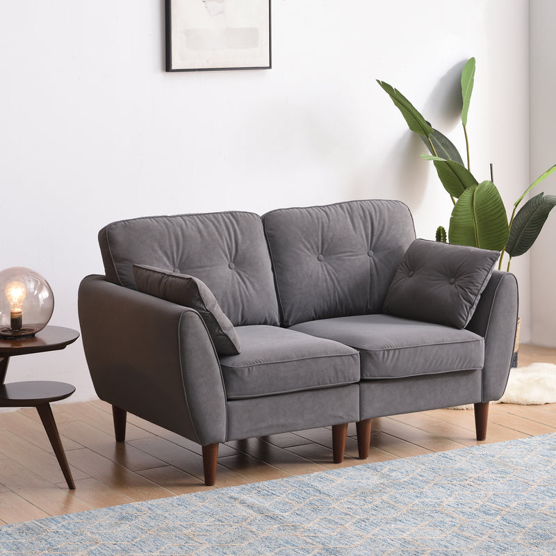 Brooks Sofa range in Grey PU Leather Sofa with side table