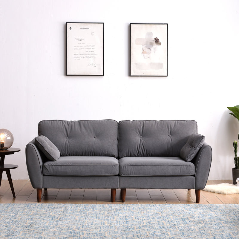 Front on view of 3 seat Brooks Sofa in Grey PU Leather