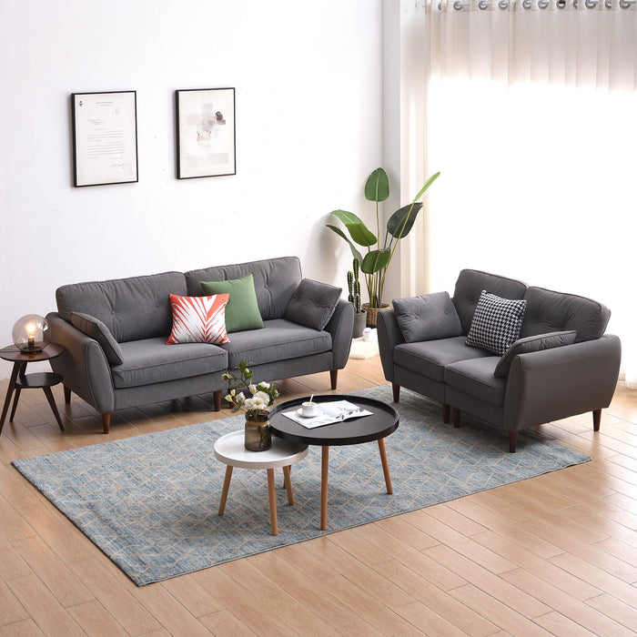 Brooks Sofa range in Grey PU Leather showing 3-seater and 2-seater options