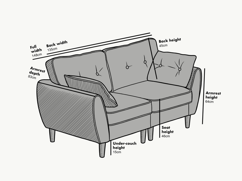 Dimensions of 2 seater Brooks Sofa in Grey PU Leather