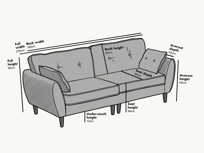 Dimensions of 3 seater Brooks Sofa in Grey PU Leather