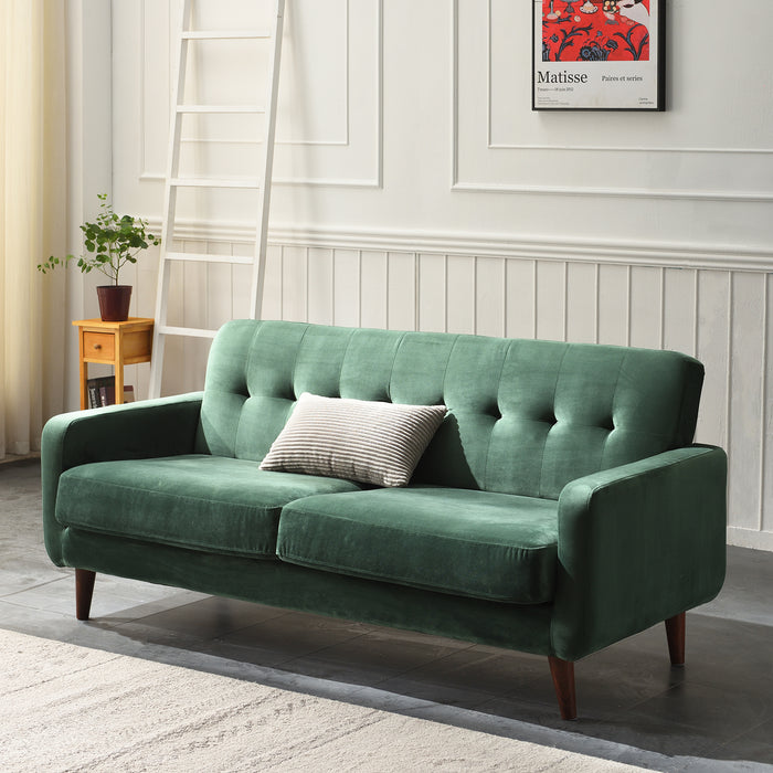 Clarence sofa range in Green Velvet 3