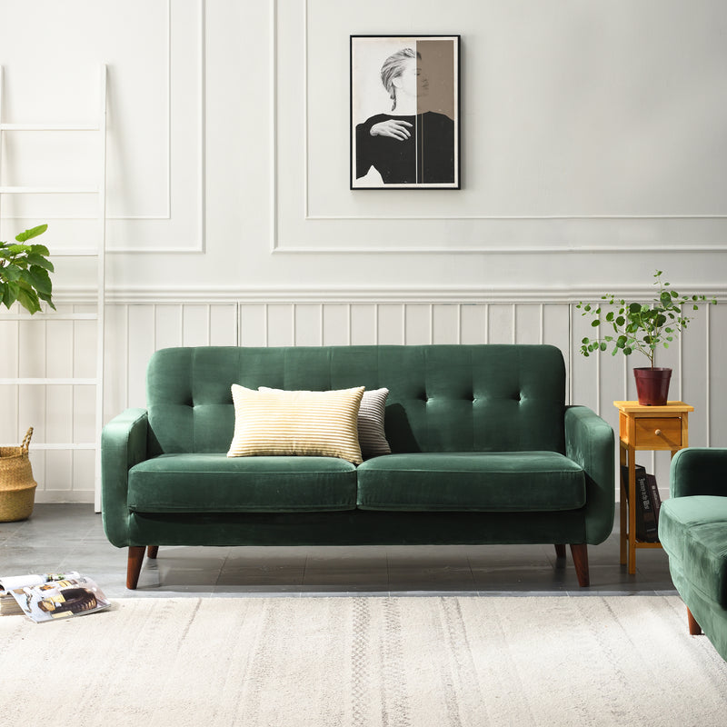 Clarence sofa range in Green Velvet 4