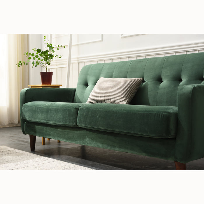 Clarence sofa range in Green Velvet 6