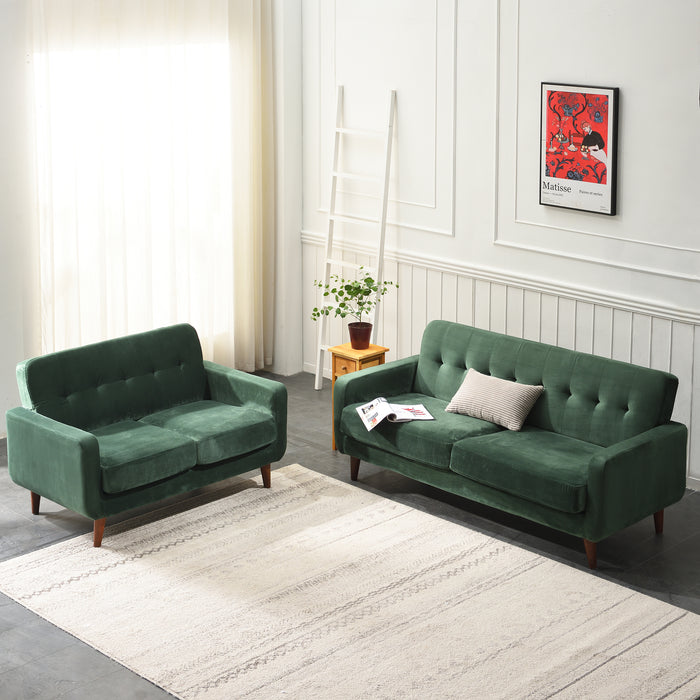 Clarence sofa range in Green Velvet 10