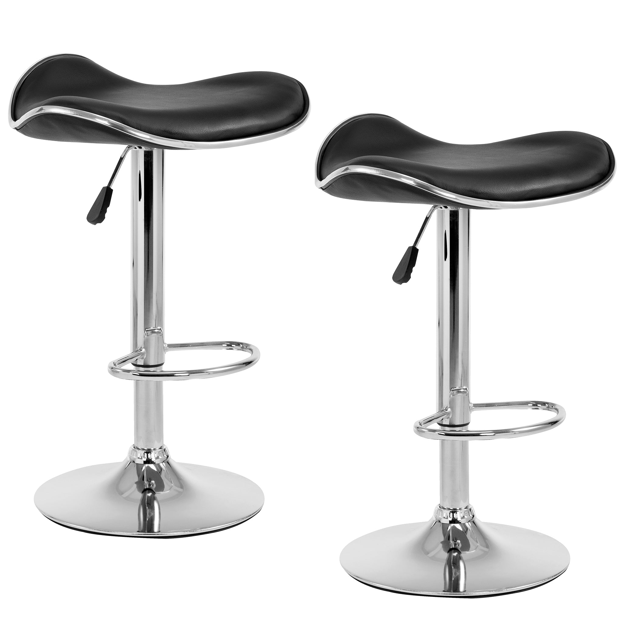 faux leather chrome base swivel bar stool with silver trim mb 202black in pair black