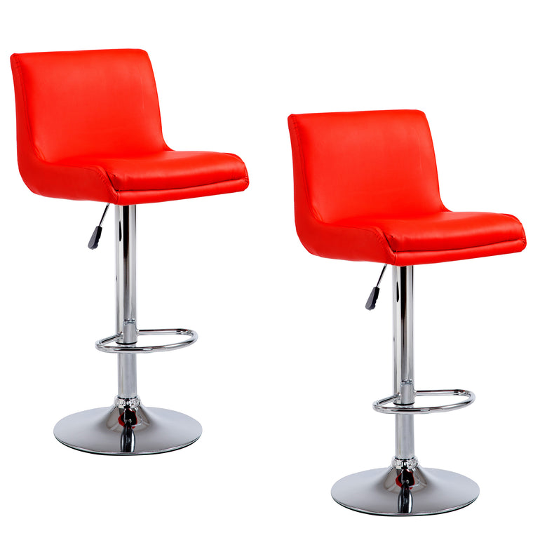 Faux Leather Medium Back Chrome Base Swivel Bar Stool MB-206 in Pair, Red