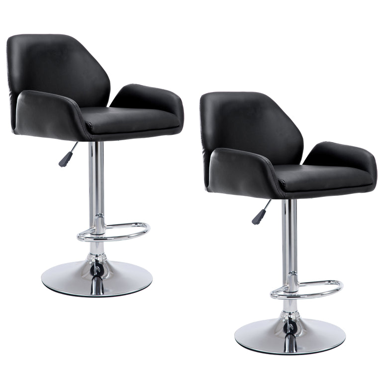 Medium Back Faux Leather Chrome Base Swivel Bar Stool in Pair, Black
