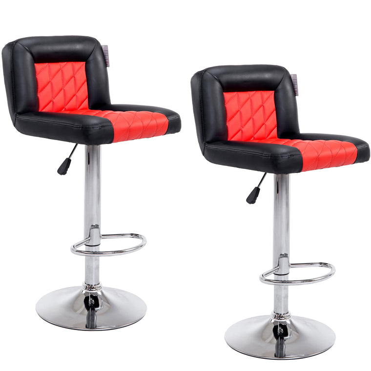 Faux Leather Chrome Base Diamond Stitch Bar Stool MB-208 in Pair, Black & Red
