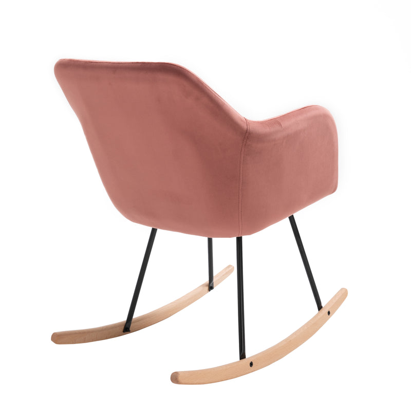 Rosa Velvet Fabric Rocking Chair with solid Beech legs Pink 4