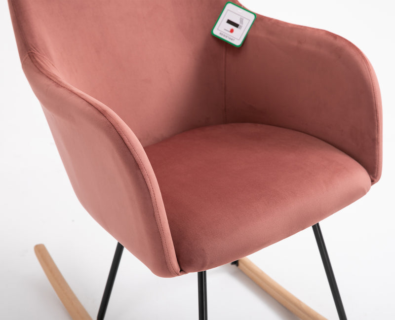 Rosa Velvet Fabric Rocking Chair with solid Beech legs Pink 6